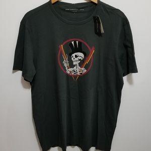 John Varvatos Large Dark Green Skull T-Shirt NWT